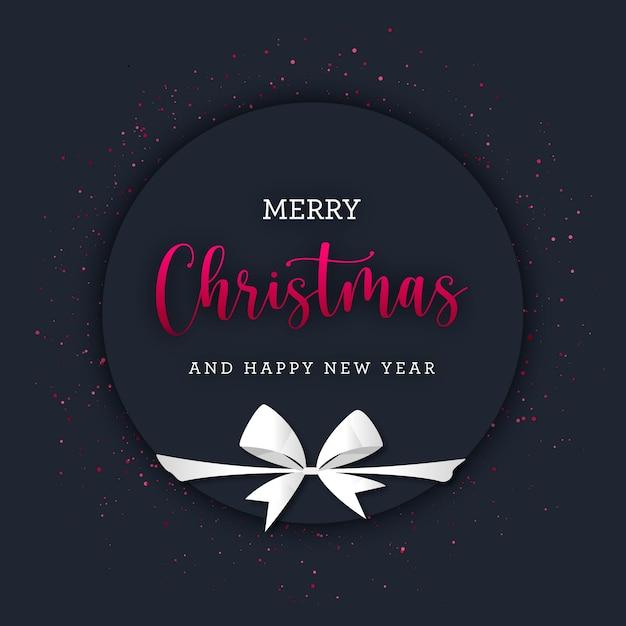 Runder weihnachtsbanner mit rotem glitzer und weißem geschenkbogen Premium Vektoren
