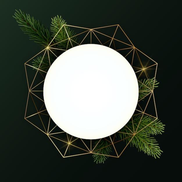 Runder weihnachtskranz mit tannenzweigen und geometrischer form. kreis mit exemplar. Premium Vektoren