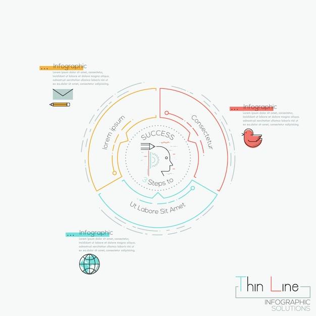 Rundes diagramm 3 mehrfarbige elemente mit pfeilen Premium Vektoren