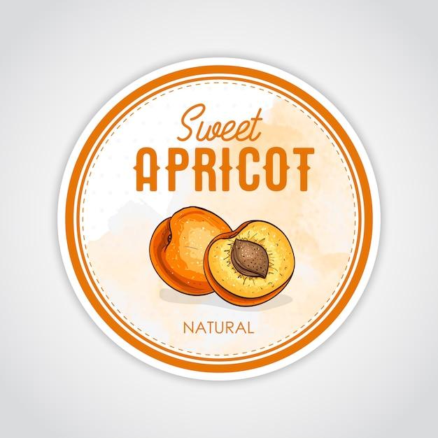 Rundes etikett mit süßer und gesunder aprikose Premium Vektoren
