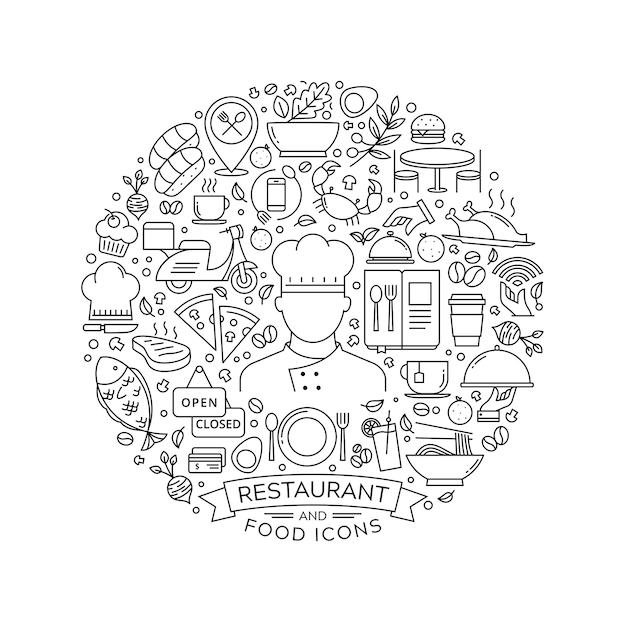 Rundes gestaltungselement mit restaurantikonen Premium Vektoren