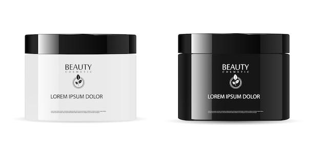 Rundes glattes schwarzweiss-kosmetisches glasglas Premium Vektoren