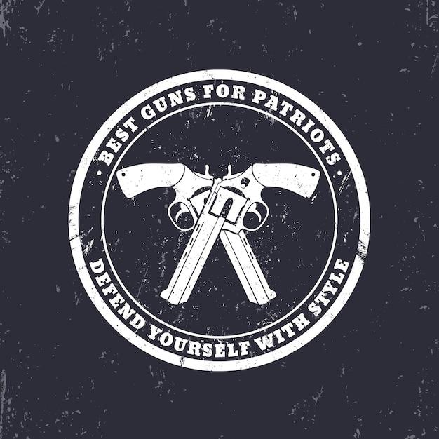 Rundes grunge-emblem, schild mit gekreuzten revolvern, waffen Premium Vektoren