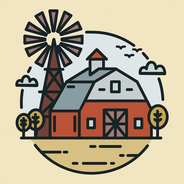 Rundes logo mit ackerlandlandschaft, landhaus oder landwirtschaftlichem gebäude und windmühle im strichkunststil Premium Vektoren