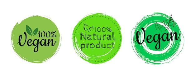 Rundes öko, bio grünes logo oder abzeichen. der schriftzug ist 100% vegan. organische designvorlage Premium Vektoren