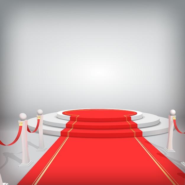 Rundes podium mit rotem teppich und absperrungen Premium Vektoren