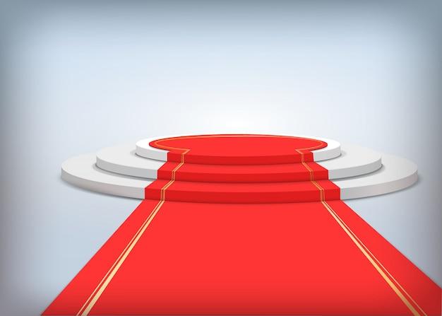 Rundes podium mit rotem teppich Premium Vektoren