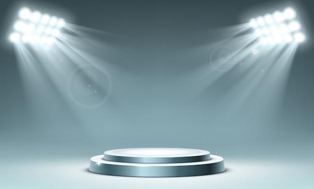 Rundes podium mit scheinwerfern beleuchtet Kostenlosen Vektoren