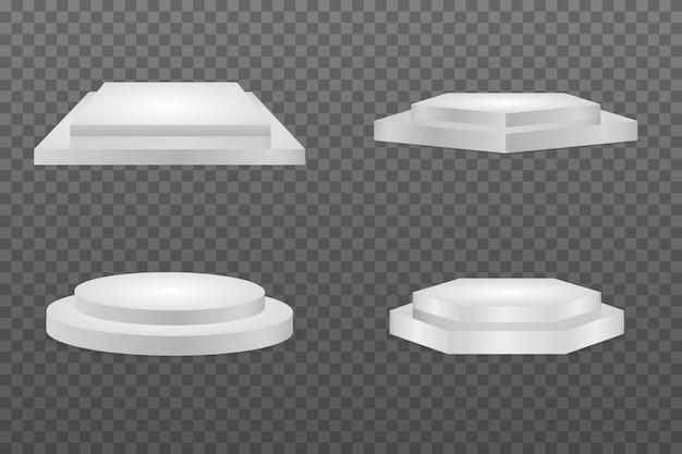 Rundes podium. showroom-sockel, isoliertes modell der bodenbühnenplattform. sockel und plattform, standbühne, zylinder und quadrat Premium Vektoren