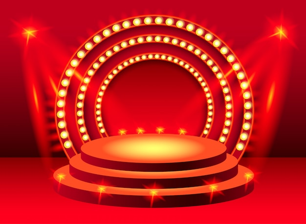 Rundes rotes bühnenpodium mit beleuchtung. für banner, plakate, prospekte und broschüren. Kostenlosen Vektoren