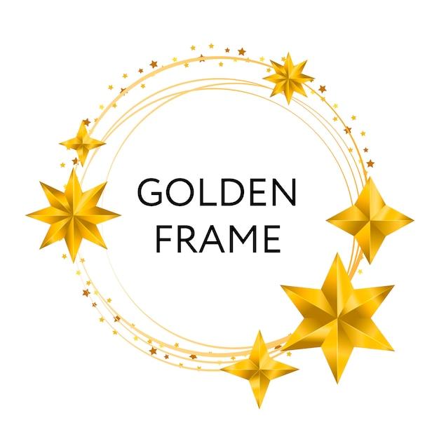 Rundes, schwarzes banner mit polygonalem rahmen, verziert mit goldenen und schwarzen sternen auf licht. Premium Vektoren