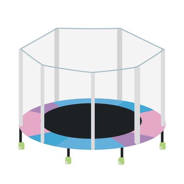 Rundes trampolin mit isoliertem sicherheitsgehäuse. fitness-outdoor-gerät für kinderunterhaltung und sportübungen Premium Vektoren
