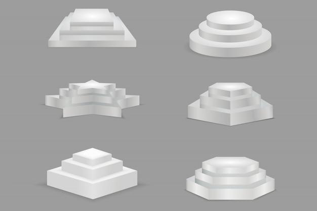 Rundes und quadratisches leeres podium mit stufen. showroom-sockel in form stern, rund, quadratisch. Premium Vektoren
