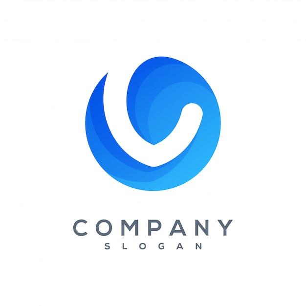 Rundes v-wave-logo einsatzbereit Premium Vektoren
