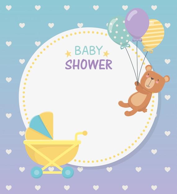 Rundschreibenkarte der babyparty mit bärenteddy im babywarenkorb Kostenlosen Vektoren