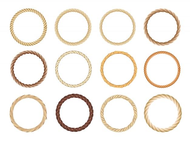 Rundseilrahmen-set. kreisseile, abgerundete bordüren und dekorative seekabelrahmenkreise. Premium Vektoren
