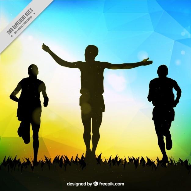 Runners silhouetten hintergrund Kostenlosen Vektoren