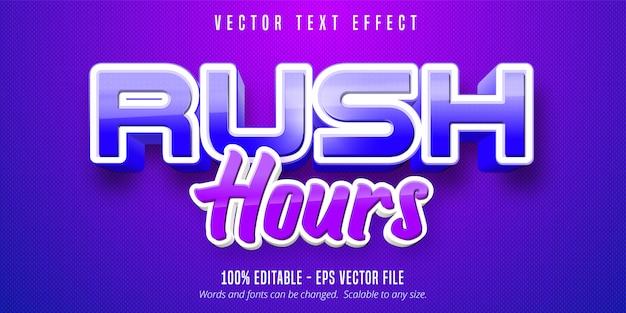 Rush hour text, bearbeitbarer texteffekt im spielstil Premium Vektoren