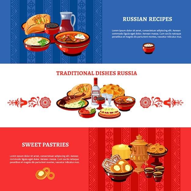 Russische küche-flagge färbt die eingestellten fahnen Kostenlosen Vektoren