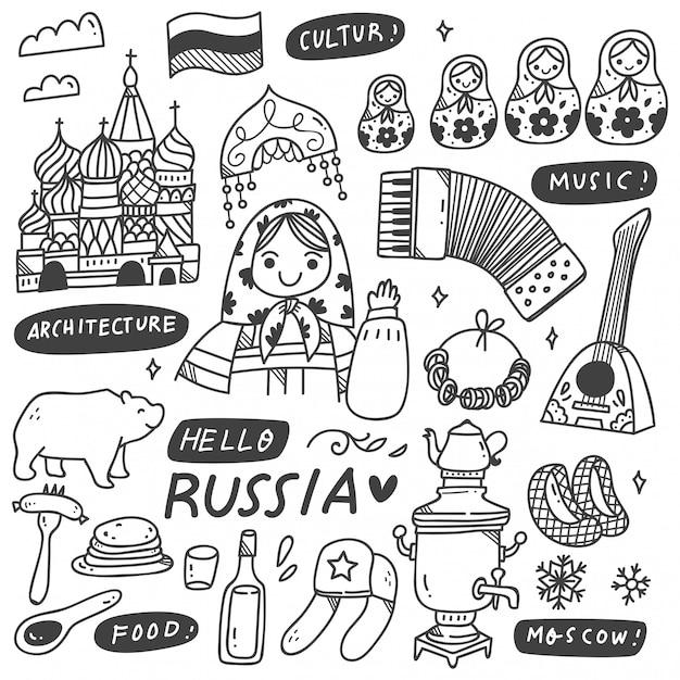 Russische kultur kritzeleien set Premium Vektoren