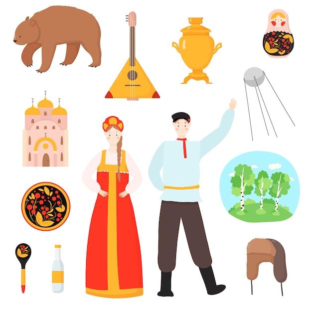 Russische nationale traditionelle reisebilder russland illustration lokalisiert auf weiß. russischer satz von symbolen Premium Vektoren