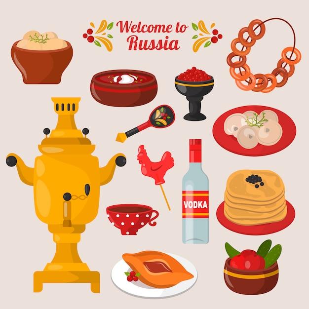 Russisches nationales essen festgelegt Premium Vektoren