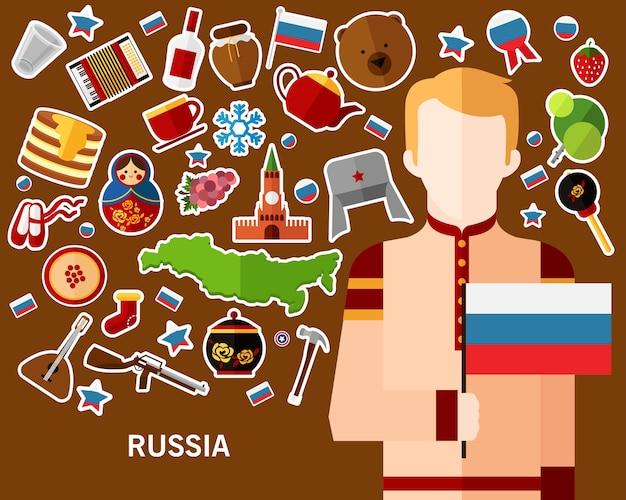 Russland-konzepthintergrund flache ikonen Premium Vektoren