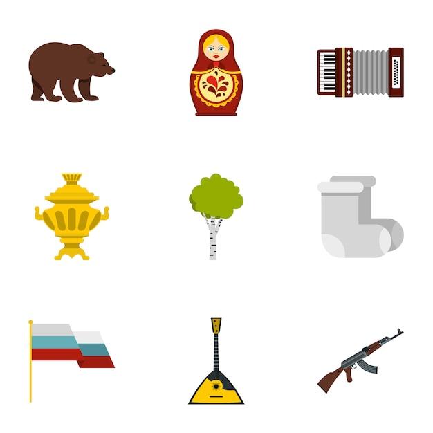 Russland-landsymbol-ikonensatz, flache art Premium Vektoren