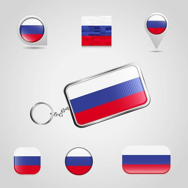 Russland-markierungsfahne auf keychain und unterschiedlicher art des kartenstiftes Premium Vektoren