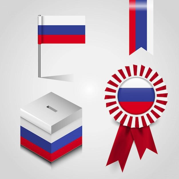 Russland-markierungsfahne Premium Vektoren