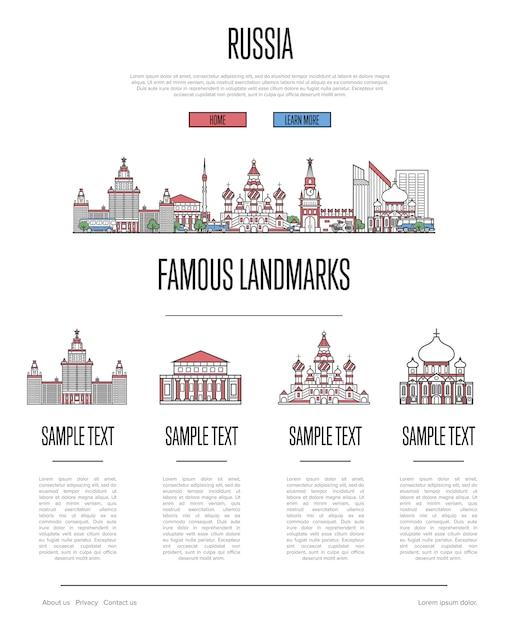 Russland reisen infografiken im linearen stil Premium Vektoren