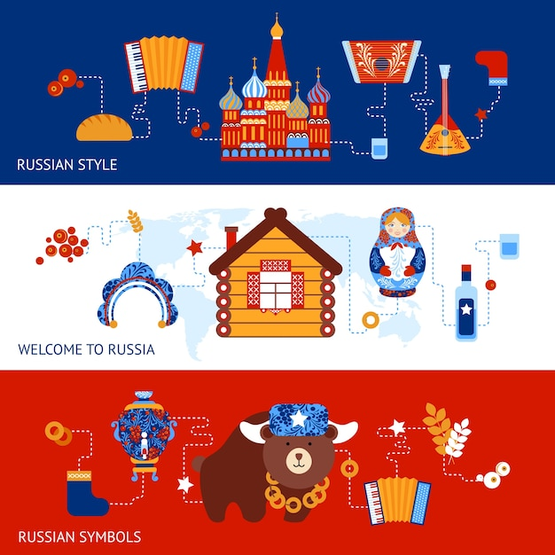 Russland reisen stil symbole banner-set mit traditionellen nationalen elemente symbole gesetzt vektor-illustration Kostenlosen Vektoren