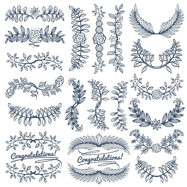 Rustikale dekoration der weinlese für hochzeitsfeierdesign. leeren kranz der skizze und randrahmen vect Premium Vektoren