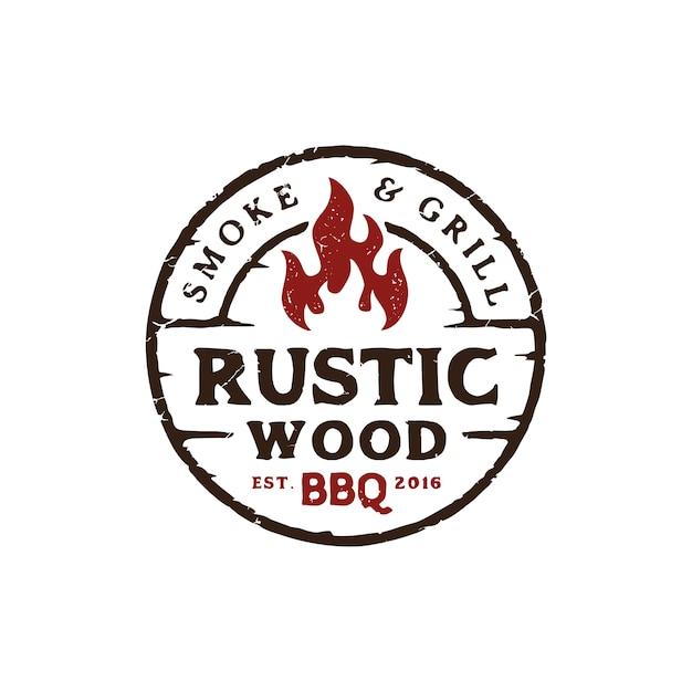 Rustikaler grill-logoentwurf der weinlese Premium Vektoren