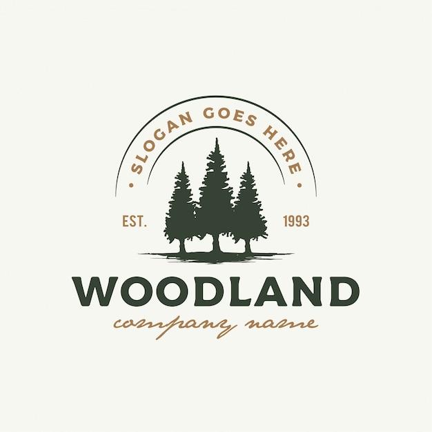 Rustikales retro vintages waldland, immergrün, kiefern, fichte, zedernbaum-logoentwurf Premium Vektoren