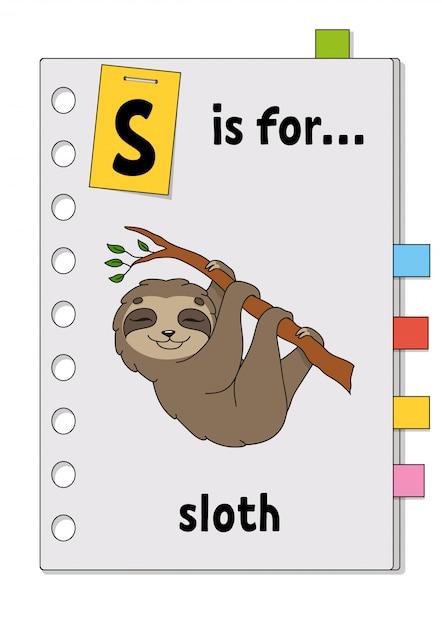 S ist für faultier. abc-spiel für kinder. wort und brief. wörter lernen, um englisch zu lernen. Premium Vektoren