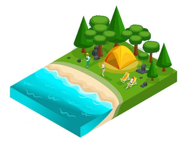 S von camping, erholung von jungen menschen der generation z auf der natur, wald, meer, strand, ufer des sees, ufer des flusses. gesunder lebensstil Premium Vektoren