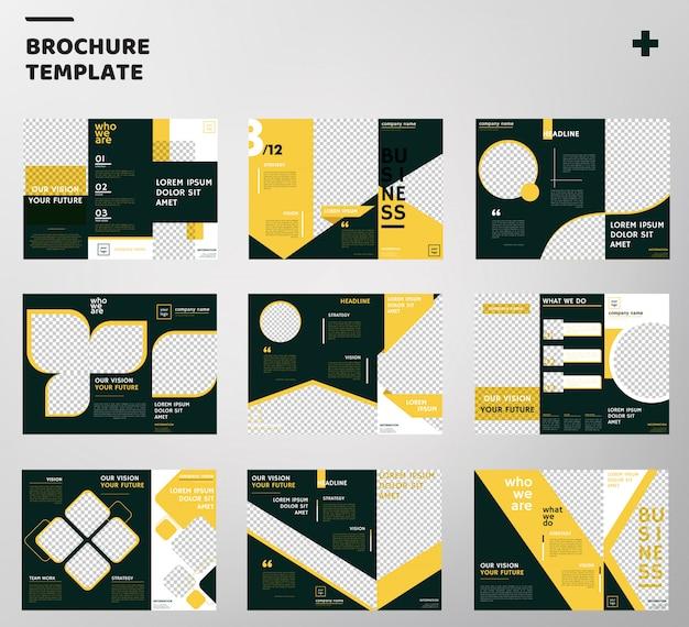 Sätze von trifold broschüren vorlage Premium Vektoren