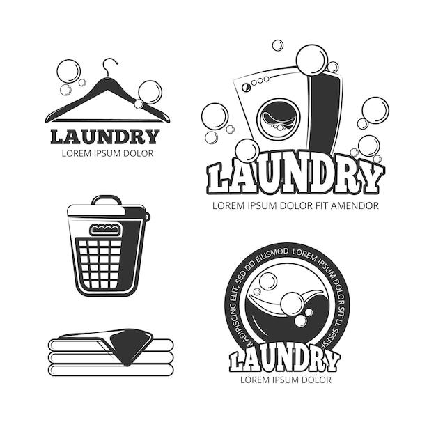 Säubern sie die wäscherei, die weinlesevektoraufkleber, embleme, logos, die eingestellten ausweise wäscht. waschmaschine und eimer für Premium Vektoren