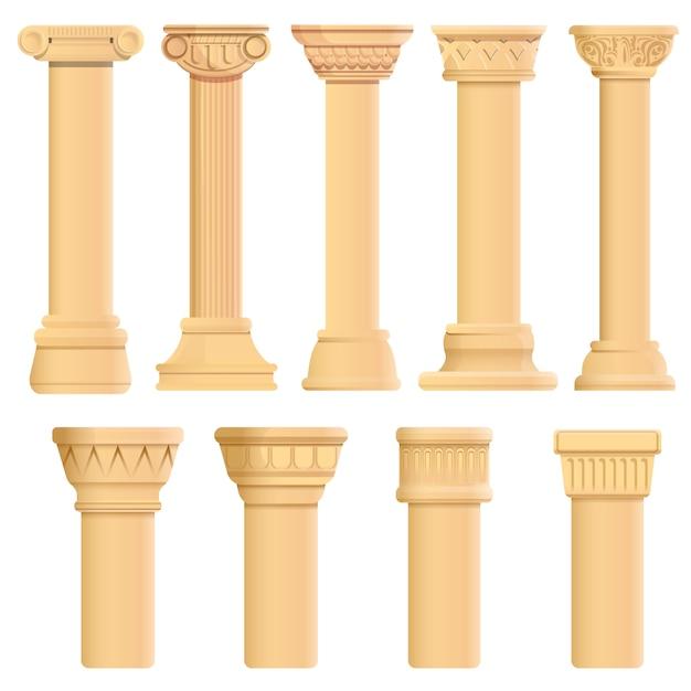 Säulenikonen eingestellt, karikaturart Premium Vektoren