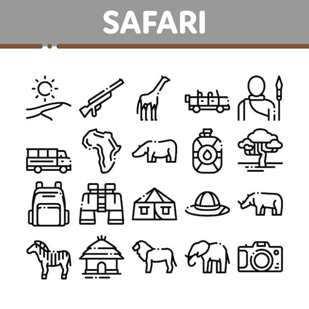 Safari travel collection elements icons set Premium Vektoren