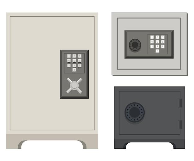 Safe-cartoon-set Premium Vektoren