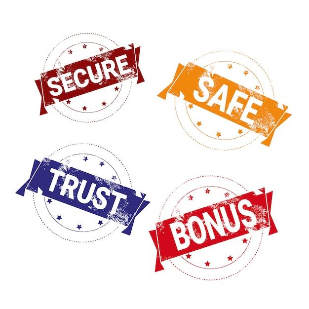 Safe deal stamps set bunte abzeichen isoliert Premium Vektoren