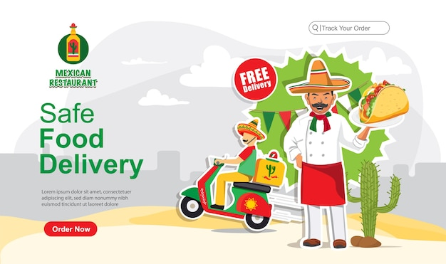 Safe food delivery order, mexikanischer food lieferservice, scooter lieferservice Premium Vektoren