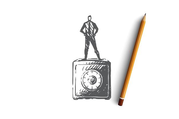 Safe, geld, sicherheit, finanzen, box-konzept. hand gezeichneter mann, der auf sicherer box für geldkonzeptskizze steht. illustration. Premium Vektoren