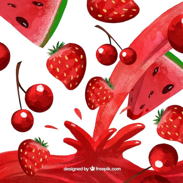 Saft Hintergrund mit Wassermelone, Kirsche und Erdbeere im Aquarell-Stil Kostenlose Vektoren
