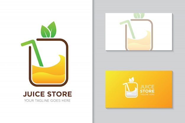 Saft logo und visitenkarte vorlage Premium Vektoren
