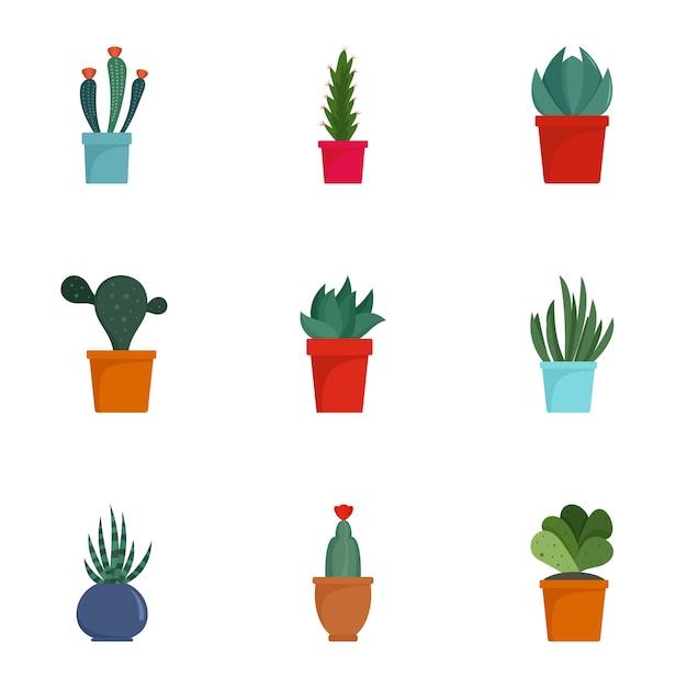 Saftiger kaktusikonensatz. flacher satz von 9 saftigen kaktusikonen Premium Vektoren