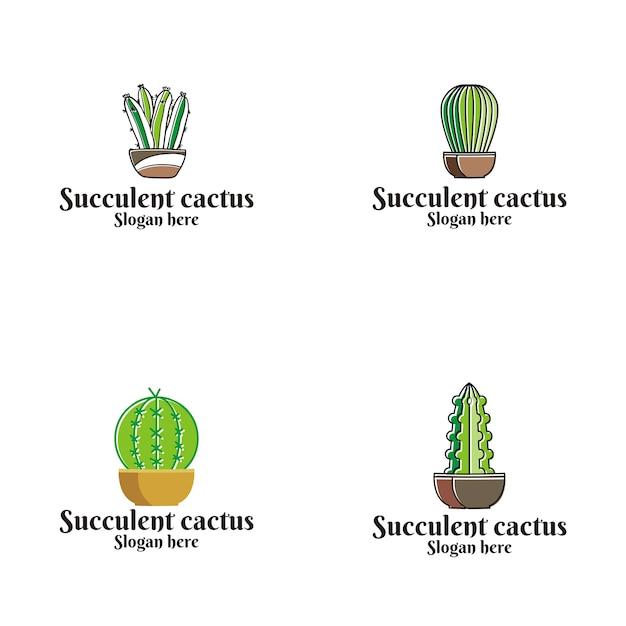 Saftiges kaktus-vektor-logo Premium Vektoren