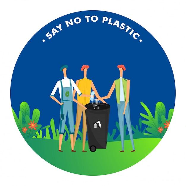 Sag nein zu plastik, männer werfen plastik in den mülleimer, um die umwelt zu verschmutzen Premium Vektoren